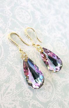 Bermuda Blue Faceted Teardrop Crystal Earrings, Something blue, Peacock Wedding, Bridal Earrings, Bridesmaid Jewelry, Weddings