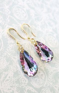 Beautiful pair of earrings is made of Vitrail Light Faceted Teardrop Crystal with cubic zirconia gold plated bail on teardrop ear-wires. High