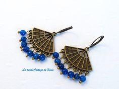 Pendientes largos - Pendientes colgantes con ágatas azules - hecho a mano por…