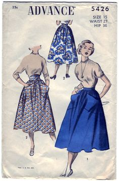 Vintage 1950 Advance 5426 Sewing Pattern Juniors' and Misses' Skirts Size 15