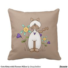 Cute Kitty with Flowers Pillow