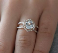 Etsy Hexagon Engagement Ring. White to Ice blue Sapphire Ring. 14k Rose Gold 2.15ct Round sapphire engage