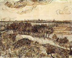 Vincent van Gogh 1888 View of Arles from a Hill pen and ink Vincent Van Gogh, Artist Van Gogh, Van Gogh Art, Van Gogh Drawings, Van Gogh Paintings, Art Van, Gustav Klimt, Monet, Van Gogh Zeichnungen