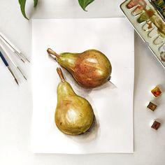 Botany, Biology, Pear, Illustrations, Fruit, Painting, Food, Illustration, Painting Art
