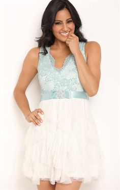 Short Homecoming Dress with Lace Bodice and Tendril Skirt; color- dusty blue| Debs Homecoming