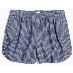 MADEWELL Cotton-Linen Pull-On Shorts in Chambray Stripe ($50) ❤ liked on Polyvore featuring shorts, coastal blue, pocket shorts, madewell shorts, pinstripe shorts, striped shorts and blue striped shorts
