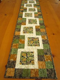 Offset Block Table Runner - to show off fussy cut blocks