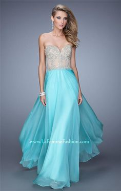La Femme 21390 Lace Top Strapless Long Prom Dress