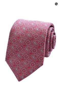 Holland & Sherry Bespoke Mens Designer Pink Silk Paisley Neck Tie - Front