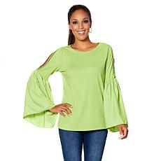 e3d832775df5b DG2 by Diane Gilman Lace Cold-Shoulder Bell-Sleeve Top Clothing Styles