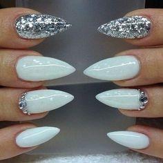 White and Silver Glitter Stiletto Nail Designs.