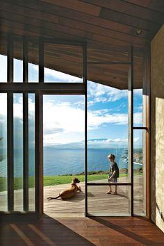 clifftop angled roof house in Maui, by Dekleva Gregorič Arhitekti
