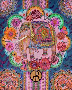 """PINK ELEPHANT"" - Artwork by Ellie Perla - polychromatic pencil and ink composition Image Elephant, Elephant Artwork, Elephant Love, Colorful Elephant, Indian Elephant Art, Happy Elephant, Asian Elephant, Elephant Pattern, Elephant Design"