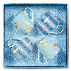 Early Bird & Ribbon Rose Blue Large Mug Set of 4 PIP51002016