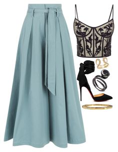 Black, Blue & Gold by carolineas on Polyvore featuring polyvore, moda, style, Alexander McQueen, Temperley London, Christian Louboutin, Cartier, fashion and clothing