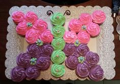 Butterfly Cupcake Cake!!   (I Used 29 cupcakes to make)