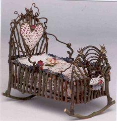 Princess Fairy Cradle - adorable! (inspiration only) ******************************************** Isabellalovedparis via Flickr - #fairy #garden #miniature #princess #bed - tå√