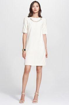 7f42e65a894b New St. John Collection Womens Embellished Neck Jersey Crinkle Knit Dress  Size 6  StJohn