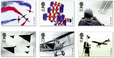 Set of 6 stamps showing views of air displays, including old   and modern aircraft and a parachute display team.