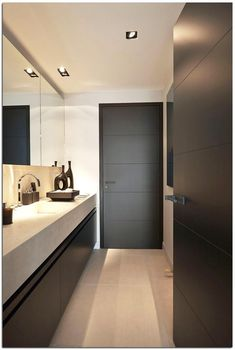 Minimalist Modern Door Design Ideas - Page 17 of 23 Double Sliding Barn Doors, Sliding Glass Door, Bathroom Interior Design, Interior Exterior, Villa Design, House Design, Traditional Style Homes, Room Doors, Apartment Design
