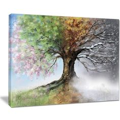 Tree with Four Seasons - Tree Painting Canvas Art Print - Free Shipping Today - Overstock.com - 18977398 - Mobile