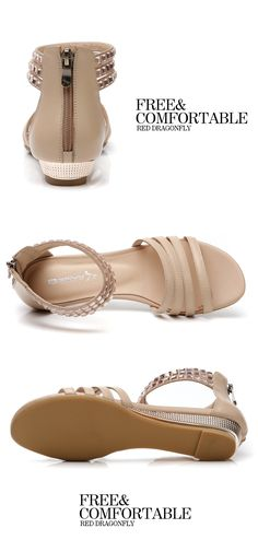 Red Dragonfly leather sandals 2013 summer new authentic sweet sequins rhinestones zipper slope with Roman shoes from taobao Pretty Sandals, Cute Sandals, Wedge Sandals, Summer Wedges, Summer Sandals, Tao, Bullen, Dressed To The Nines, Shoe Closet
