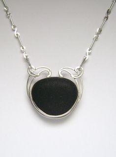 Sea Glass Jewelry - Sterling Rare Black Sea Glass Necklace