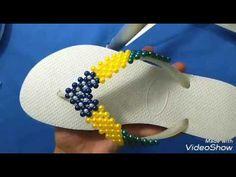 Como fazer havaiana bordada com pérolas bandeira do Brasil Cida reis - YouTube