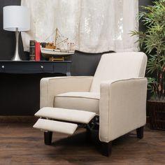 Nathan Beige Fabric Club Chair Recliner