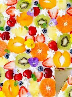 Rainbow Colors, Panna Cotta, Pineapple, Birthday Cake, Fruit, Ethnic Recipes, Desserts, Food, Pasta