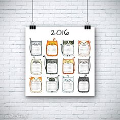 Kalendarz 2016 rok grafika malgorzata domanska kot koty