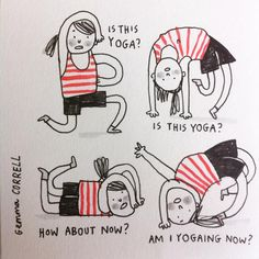 """""""When you haven't been to yoga class in months & can't remember how to do anything. #sketchbook"""""""