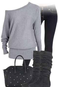 Gray Off The Shoulder Sweater, Jeans, Boots