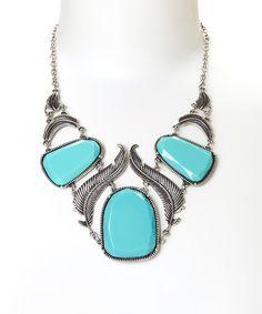 Another great find on #zulily! Treska Turquoise & Silvertone Feather Bib Necklace by Treska #zulilyfinds