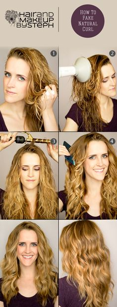 "How to fake natural curl! This makes me so happy because I was doing it before I even saw it on Pinterest, and it works perfectly! Also good for supplementing those very loose, ""almost-straight"" natural waves."