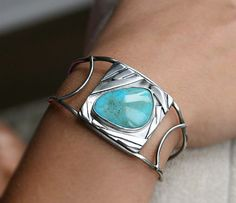 Turquoise Cuff Sterling Silver Art Jewelry Unique Modern Design