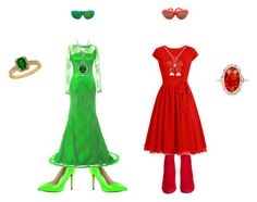 """""""red and green"""" by gabriellalove06 ❤ liked on Polyvore featuring Pleaser, Yves Saint Laurent, Del Gatto, Bling Jewelry, Lord & Taylor, Dax Gabler and Isabel Canovas"""