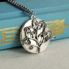 Silver Tree Locket Necklace, willow vintage floral leaf leaves nature photo message pendant gift