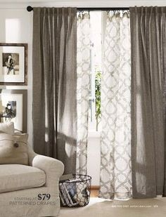 Layered curtains for the living room. I even like the color. It'd be across… Layered curtains for the living room. I even like the color. It'd be across from the Gray wall. Home Living Room, Apartment Living, Kitchen Living, Apartment Therapy, Layered Curtains, Double Curtains, Sheer Curtains, Patterned Curtains, Curtains For Wide Windows