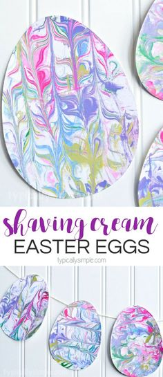 Shaving Cream Marbled Paper Easter Eggs Craft