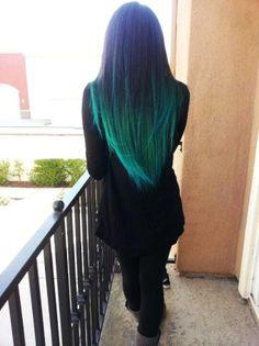 Blue Colored Hair Tips Aqua blue hair colors Turquoise Hair Ombre, Dyed Hair Ombre, Teal Hair, Dye My Hair, Green Hair, Teal Ombre, Ombre Green, Blue Green, Peacock Hair