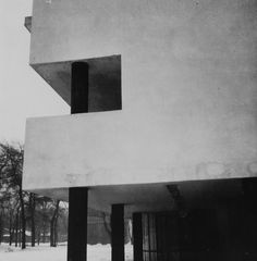 Robert Byron, Narkomfin apartments; Moscow, USSR (1928-1929); Architects: Moisei Ginzburg and Ignatii Milinis; Type: A-negative; Exterior view: Side façade with pilotis