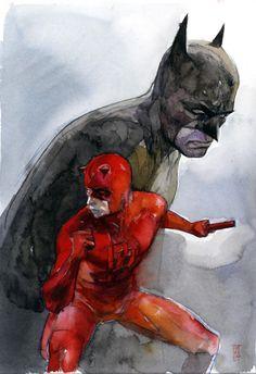 Batman and Daredeveil (Watercolor comic book painting) | By: Alex Maleev, via Cuded (#batman #daredevil)
