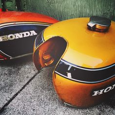 We build custom cafe racers! Honda gas tanks! Which one would you pick?  www.FuelWellMoto.com #cb550 #cb750 #bratstyle #fuelwellmotorcycles #builtnotbought #caferacer