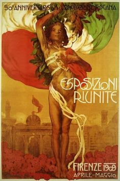 Vintage Italian Posters ~ #illustrator #Italian #posters ~ 1909 Firenze Florence Italy Capital City of the Italian Region of Tuscany