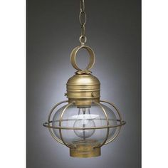 Northeast Lantern Onion 1 Light Outdoor Hanging Lantern Finish: Raw Brass, Shade Type: Optic