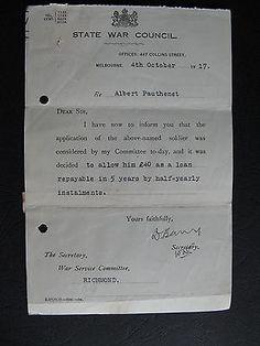 WW1 ANZAC SERVICEMAN Albert Pauthenet of RICHMOND