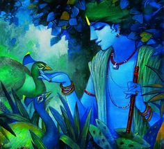 Lord Krishna stories have united devotes the world over. What is it about Krishna that unites and charms. Why's he the universal spirit. Jai Shree Krishna, Krishna Radha, Durga, Lord Krishna Stories, The Magic Faraway Tree, Indian Art Paintings, Indian Artwork, Krishna Painting, India Art