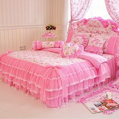 MeMoreCool Home Textile Elegant Design Pastoral Style Floral Lace Princess Bedding Set Girly Ruffle Duvet Cover Fashion Exquisite Falbala Bed Skirt Twin Size ** Find out more about the great product at the image link. Pink Bedding Set, Ruffle Bedding, Luxury Bedding Sets, Floral Bedding, Bedding Master Bedroom, Bedroom Decor, Bedroom Ideas, Style Floral, Super King Size Bed