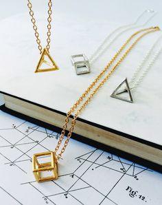 Figura Geometric 3D Shape Necklace — Eclectic Eccentricity Vintage Jewellery